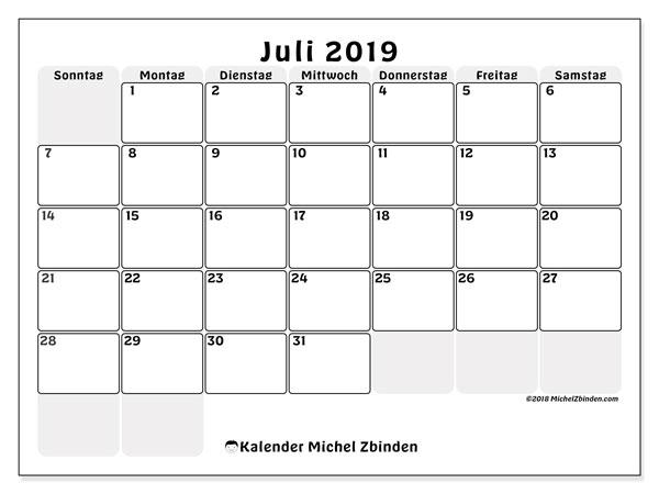 Kalender Juli 2019, 44SS. Kostenloser Planer zum ausdrucken.