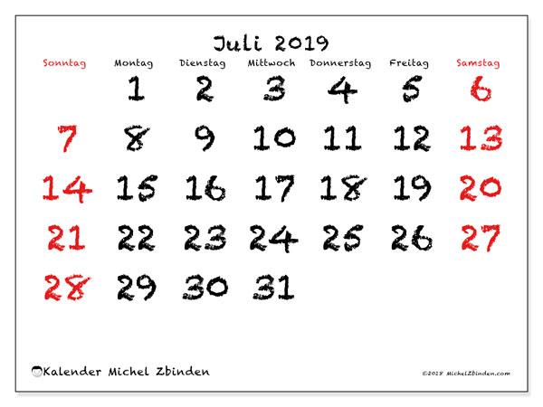 Kalender Juli 2019, 46SS. Monatskalender zum kostenlosen ausdrucken.