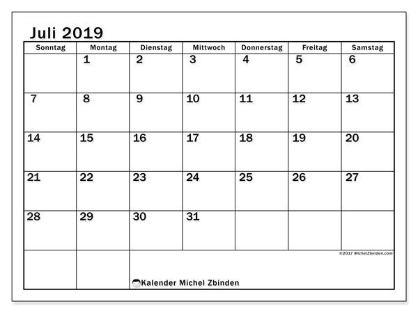 Kalender Juli 2019, 50SS. Kalender für den Monat zum kostenlosen ausdrucken.