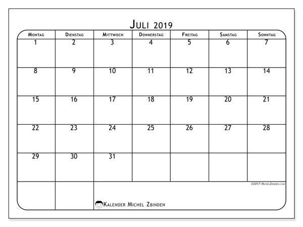Kalender Juli 2019, 51MS. Monatlicher Zeitplan zum kostenlosen ausdrucken.