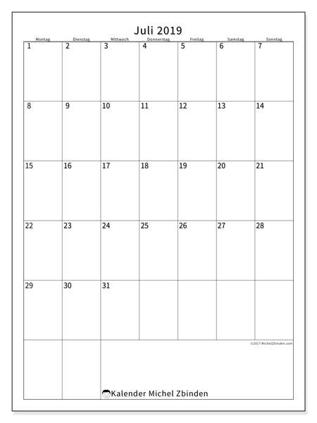 Kalender Juli 2019, 52MS. Kostenlos ausdruckbare Kalender.