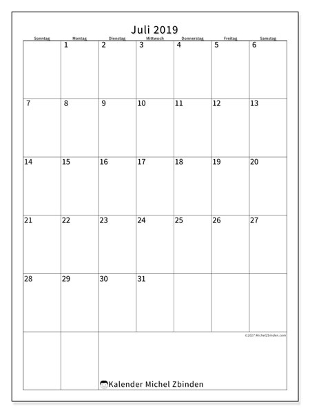 Kalender Juli 2019, 52SS. Monatlicher Zeitplan zum kostenlosen ausdrucken.