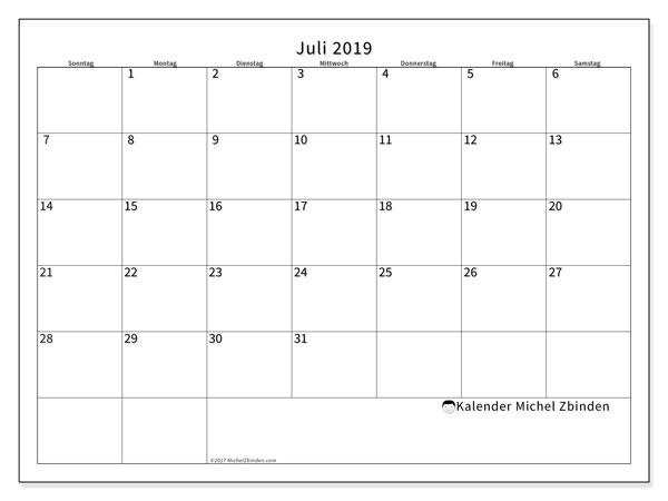 Kalender Juli 2019, 53SS. Kalender für den Monat zum kostenlosen ausdrucken.