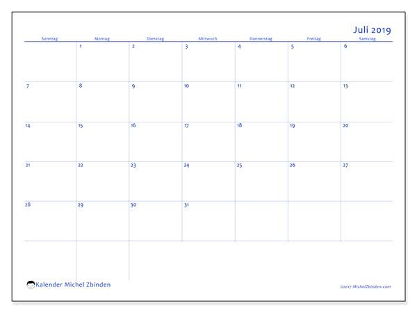 Kalender Juli 2019, 55SS. Monatlicher Zeitplan zum kostenlosen ausdrucken.