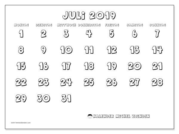 Kalender Juli 2019, 56MS. Kostenlos ausdruckbare Kalender.