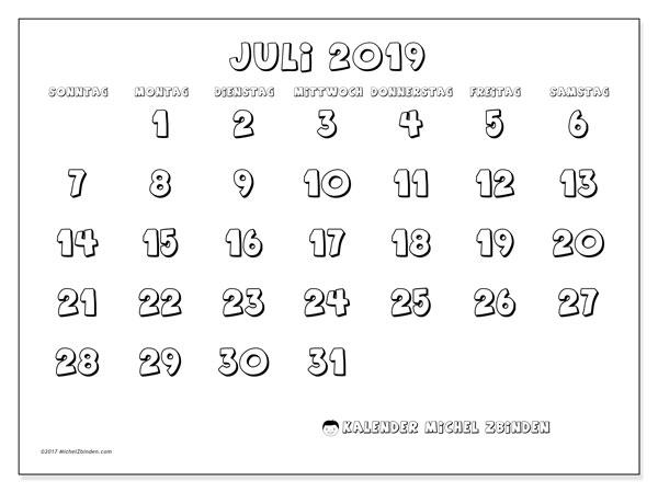 Kalender Juli 2019, 56SS. Monatskalender zum kostenlosen ausdrucken.