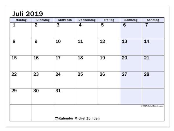 Kalender Juli 2019, 57MS. Kostenloser Kalender zum ausdrucken.