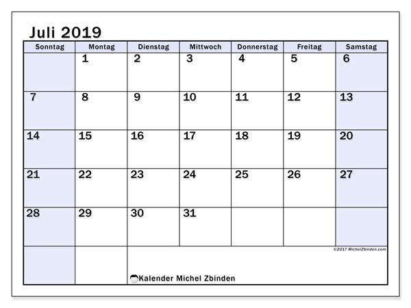 Kalender Juli 2019, 57SS. Kostenloser Planer zum ausdrucken.