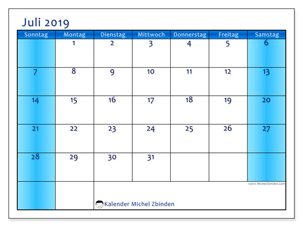 Kalender Juli 2019, 58SS. Kostenlos ausdruckbare Zeitplan.