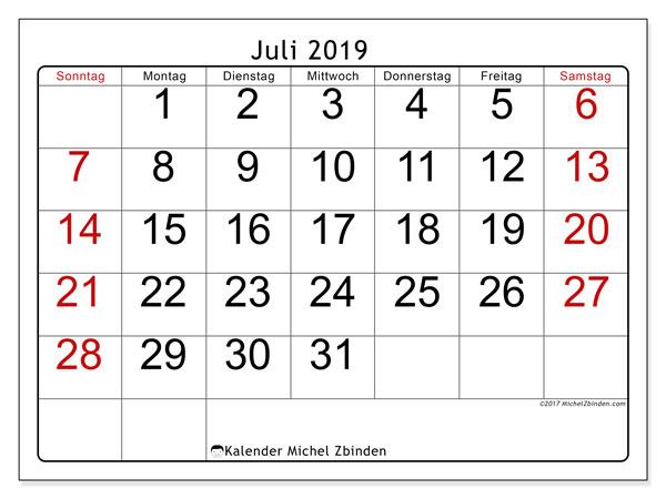 Kalender Juli 2019, 62SS. Kostenloser Zeitplan zum ausdrucken.