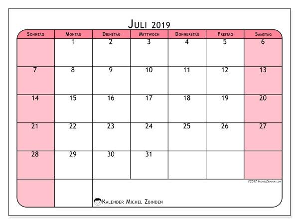 Kalender Juli 2019, 64SS. Monatskalender zum kostenlosen ausdrucken.