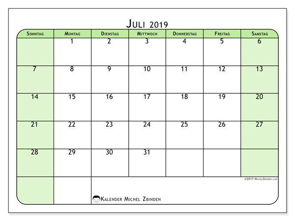 Kalender Juli 2019, 65SS. Monatlicher Zeitplan zum kostenlosen ausdrucken.