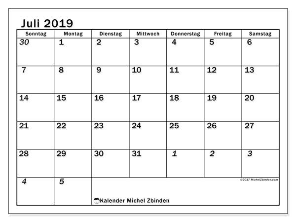Kalender Juli 2019, 66SS. Kostenloser Planer zum ausdrucken.