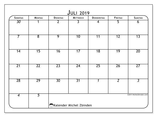 Kalender Juli 2019, 67SS. Monatlicher Kalender zum kostenlosen ausdrucken.