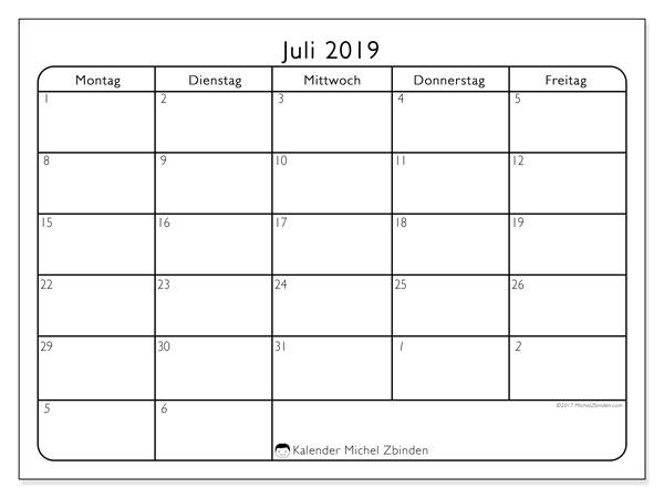 Kalender Juli 2019, 74MS. Monatlicher Kalender zum kostenlosen ausdrucken.