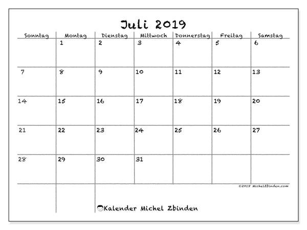 Kalender Juli 2019, 77SS. Zeitplan zum kostenlosen ausdrucken.