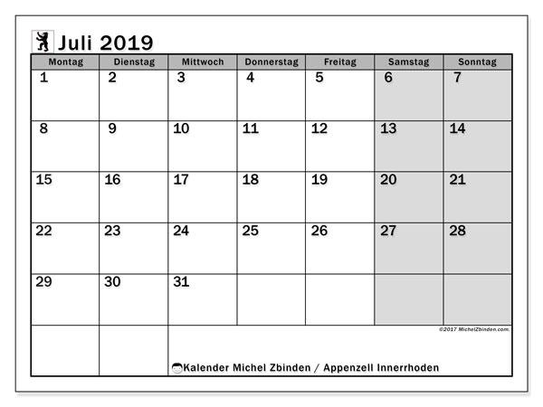 Kalender für Juli 2019, mit Feiertagen des Kantons Apenzell Innerrhoden. Kalender für den Monat zum kostenlosen Ausdrucken.