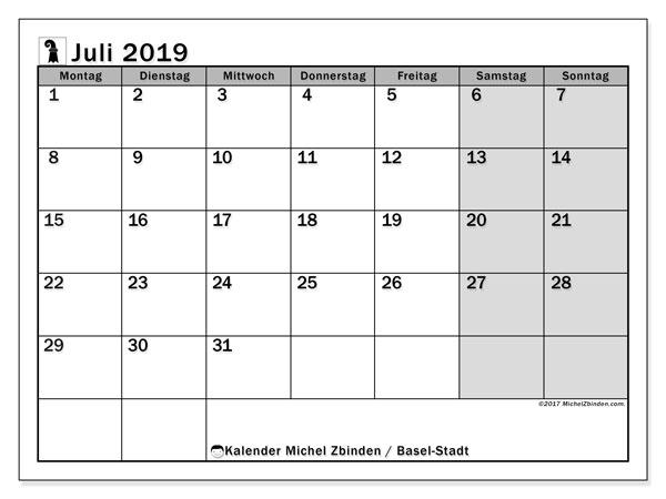Kalender für Juli 2019, mit Feiertagen des Kantons Basel Stadt. Kalender für den Monat zum kostenlosen Ausdrucken.