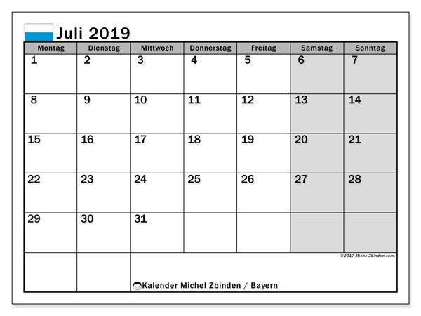 Juli 2019 Kalender  - Bayern. Kalender zum drucken: Feiertage.