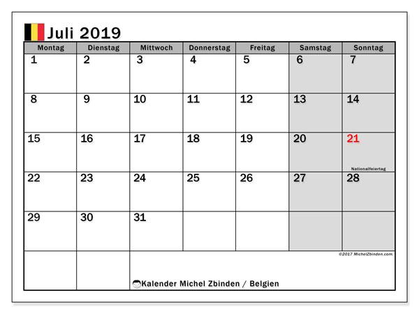 Juli 2019 Kalender  - Belgien. Kalender zum drucken: Feiertage.