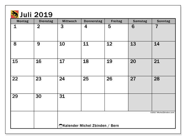 Kalender für Juli 2019, mit Feiertagen des Kantons Bern. Planer zum kostenlosen ausdrucken.