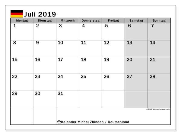 Kalender für Juli 2019, mit Feiertagen Deutschland. Monatlicher Zeitplan zum kostenlosen ausdrucken.