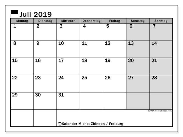 Kalender für Juli 2019, mit Feiertagen des Kantons Freiburg. Kostenloser Zeitplan zum ausdrucken.