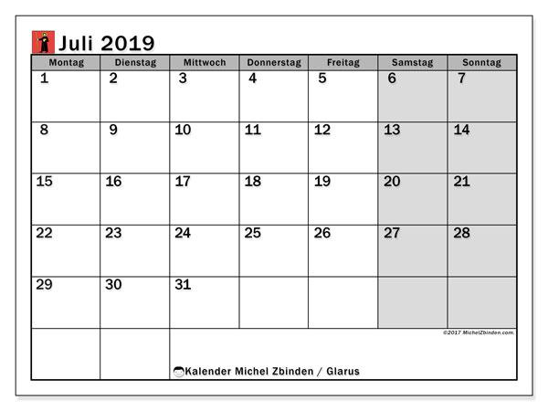 Kalender für Juli 2019, , mit Feiertagen des Kantons Glarus. Monatskalender zum kostenlosen ausdrucken.