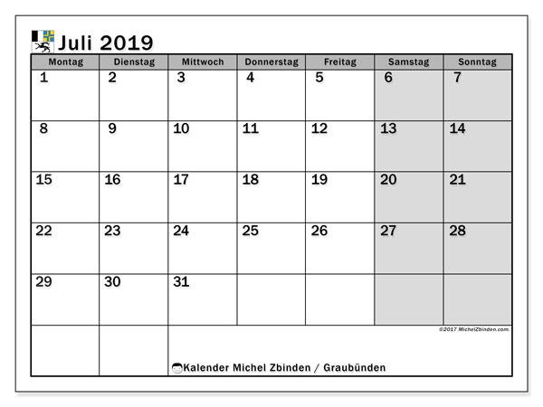 Kalender Juli 2019, mit den Feiertagen des Kantons Graubünden. Kalender mit Feiertagen zum kostenlosen ausdrucken.
