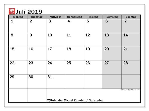 Kalender für Juli 2019, mit Feiertagen des Kantons Nidwalden. Kalender zum kostenlosen ausdrucken.