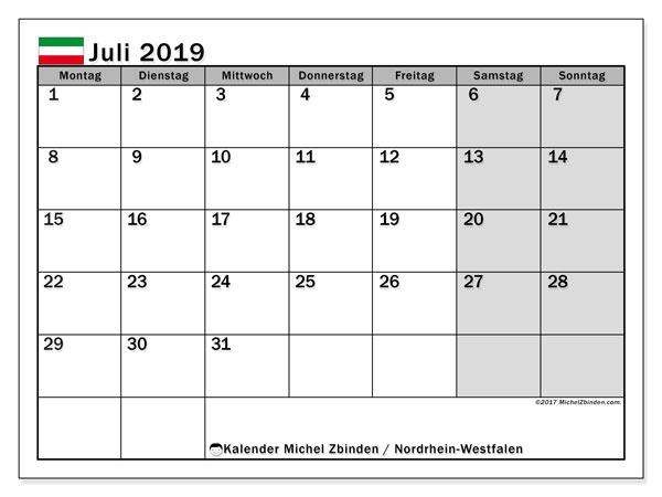 Kalender für Juli 2019, mit Feiertagen Nordrhein-Westfalen. Kostenloser Zeitplan zum ausdrucken.