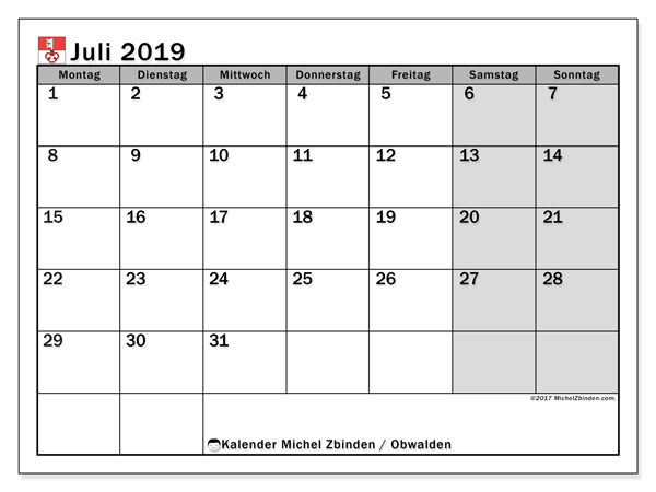 Kalender für Juli 2019, mit Feiertagen des Kantons Obwalden. Monatlicher Zeitplan zum kostenlosen ausdrucken.