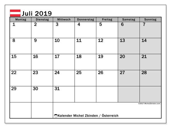 Kalender für Juli 2019, mit Feiertagen in Österreich. Zeitplan zum kostenlosen ausdrucken.