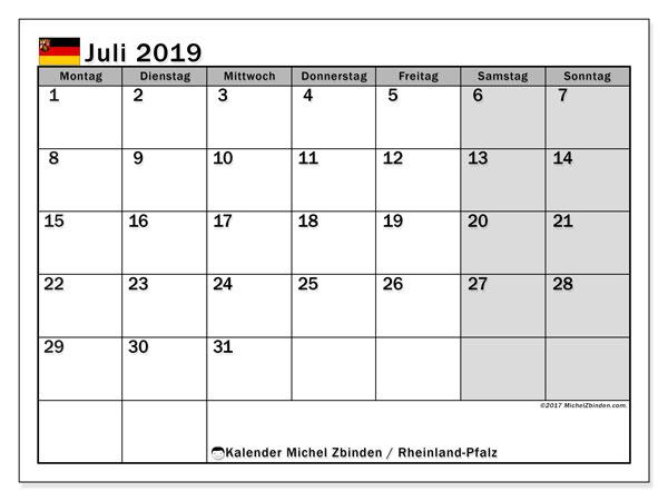 Kalender für Juli 2019, , mit Feiertagen Rheinland-Pfalz. Kalender zum kostenlosen ausdrucken.