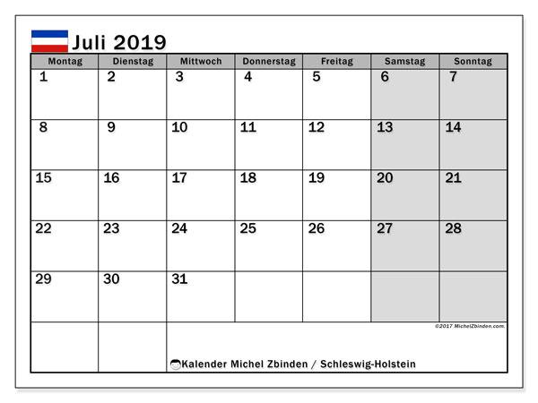 Kalender für Juli 2019, mit Feiertagen Schleswig-Holstein. Kostenloser Planer zum ausdrucken.