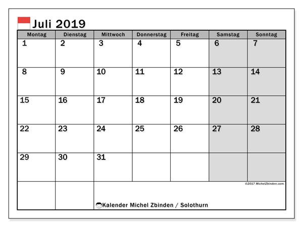 Kalender für Juli 2019, mit Feiertagen des Kantons Solothurn. Kostenloser Zeitplan zum ausdrucken.