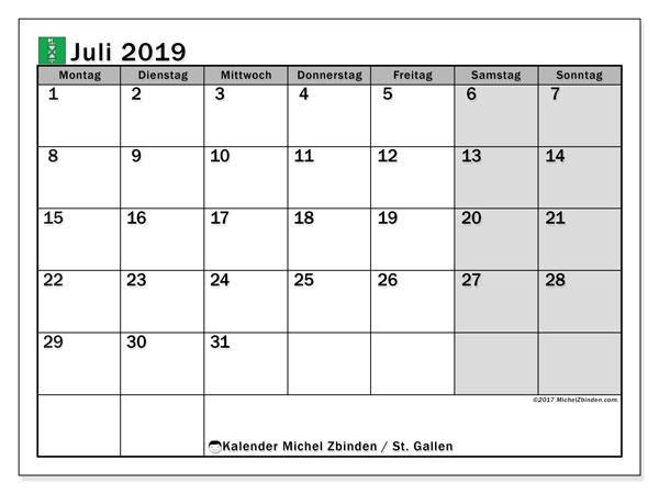 Juli 2019 Kalender  - St. Gallen. Kalender zum drucken: Offizielle Feiertage.