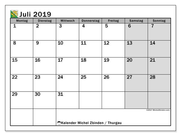 Kalender für Juli 2019, , mit Feiertagen des Kantons Thurgau. Kostenloser Zeitplan zum ausdrucken.