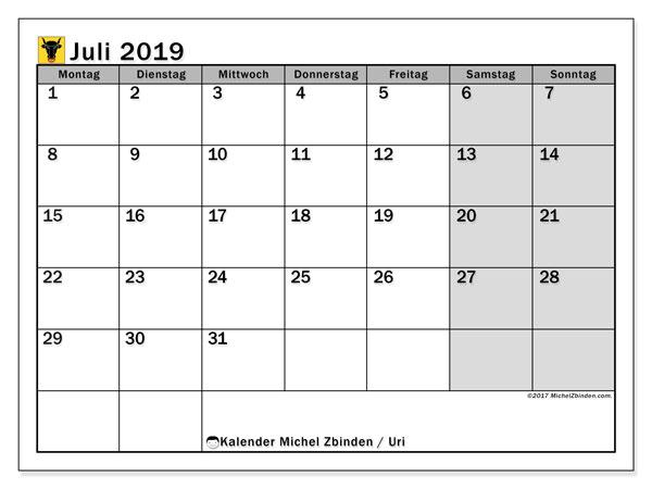 Kalender für Juli 2019, , mit Feiertagen des Kantons Uri. Monatlicher Kalender zum kostenlosen ausdrucken.