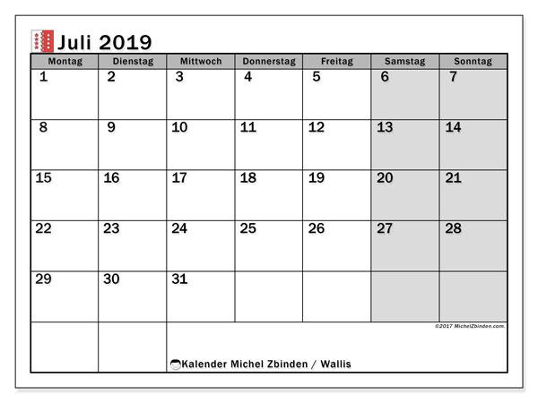 Kalender Juli 2019, mit den Feiertagen des Kantons Wallis. Kalender mit Feiertagen zum kostenlosen ausdrucken.