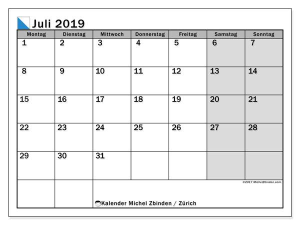 Kalender für Juli 2019, mit Feiertagen des Kantons Zürich. Kalender für den Monat zum kostenlosen Ausdrucken.