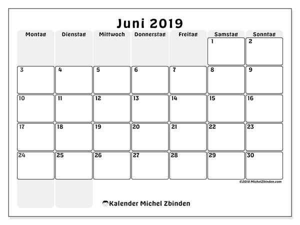 Kalender Juni 2019, 44MS. Monatlicher Zeitplan zum kostenlosen ausdrucken.