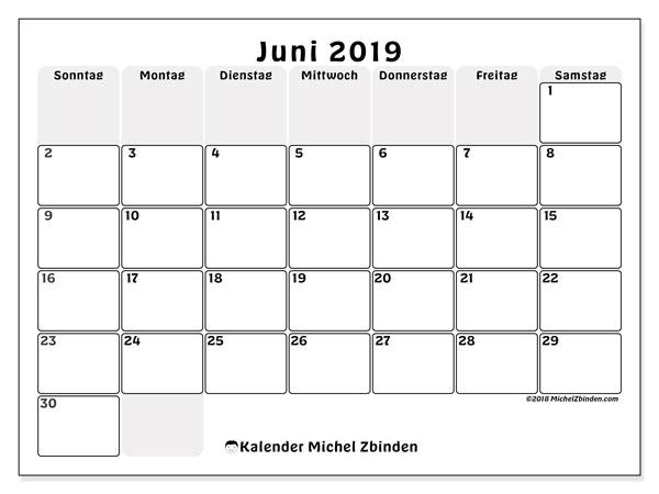 Kalender Juni 2019, 44SS. Monatskalender zum kostenlosen ausdrucken.