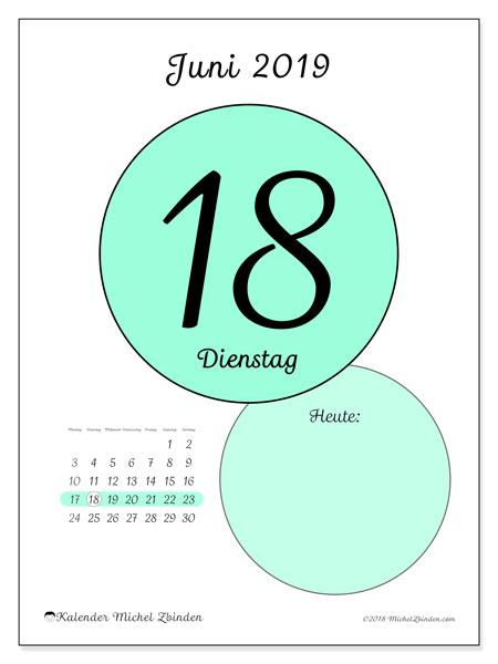 Kalender Juni 2019, 45-18MS. Täglicher Kalender zum kostenlosen ausdrucken.