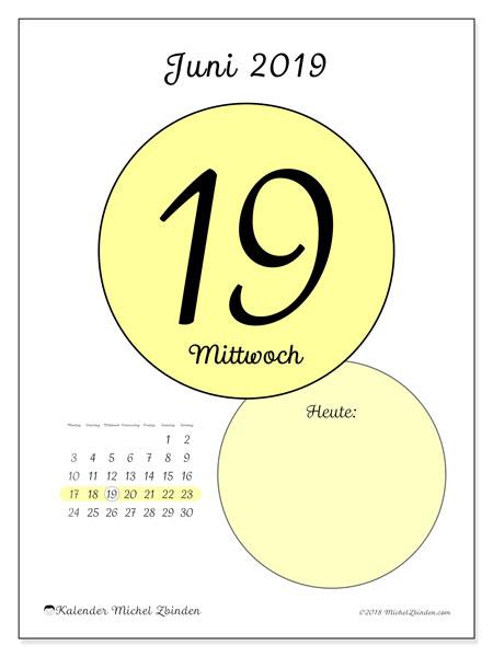 Kalender Juni 2019, 45-19MS. Täglicher Kalender zum kostenlosen ausdrucken.