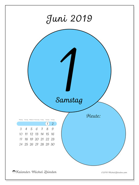 Kalender Juni 2019, 45-1MS. Kalender für den Tag, um kostenlos zu drucken.