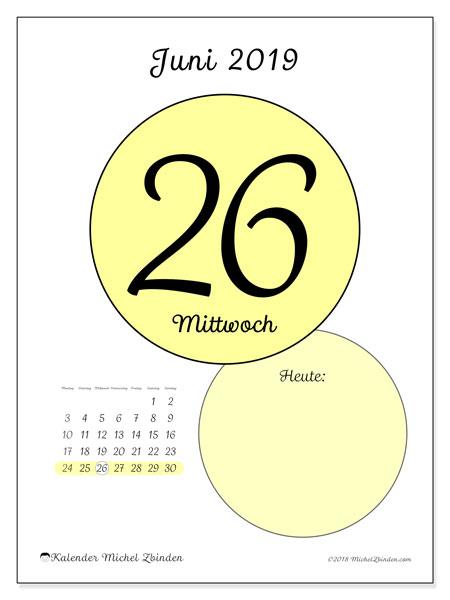 Kalender Juni 2019, 45-26MS. Täglicher Kalender zum kostenlosen ausdrucken.