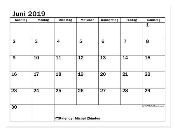 Kalender Juni 2019, 50SS. Kostenloser Zeitplan zum ausdrucken.