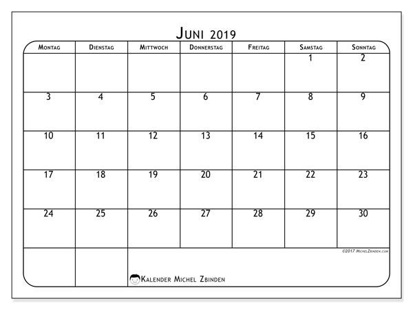 Kalender Juni 2019, 51MS. Monatlicher Zeitplan zum kostenlosen ausdrucken.