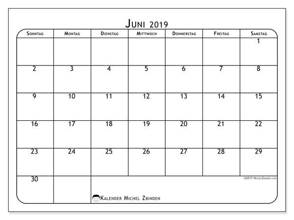 Kalender Juni 2019, 51SS. Planer zum kostenlosen ausdrucken.